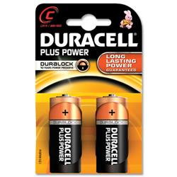 Duracell Plus Battery Alkaline 1.5V C Ref MN1400B2 - Pack 2