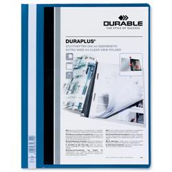 Durable Duraplus Quotation Filing Folder PVC with Clear Title Pocket A4 Blue Ref 2579/06 - Pack 25