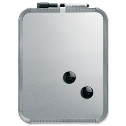 Nobo SlimLine Magnetic Drywipe Board with Pen and Built-in Eraser 220x14x280mm Silver Ref QB05142CD