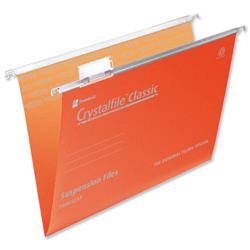 Rexel Crystalfile Classic Suspension File Manilla V-base 15mm Foolscap Orange Ref 3000050 - Pack 50