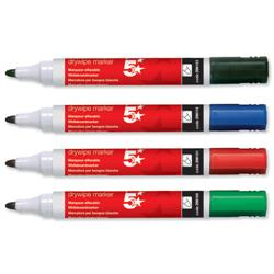 5 Star Office Drywipe Marker Xylene/Toluene-Free Bullet Tip 3mm Line Assorted [Pack 12]
