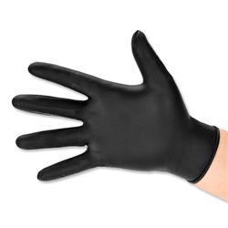 Nitrile Gloves Abrasion-resistance Rolled-cuff Medium Black [Pack 100]