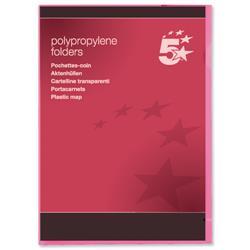 5 Star Office Folder Cut Flush Polypropylene Copy-safe Translucent 120 Micron A4 Red [Pack 25]