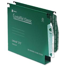 Rexel Crystalfile Classic Lateral File Manilla 275mm 50mm Base Green Ref 71762 - Pack 50