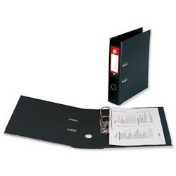5 Star Office Lever Arch File PVC Spine 70mm Foolscap Black [Pack 10]