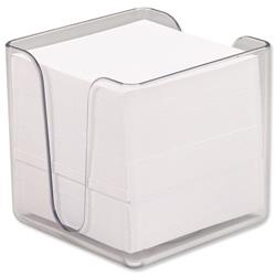 5 Star Office Noteholder Cube Transparent with Approx. 750 Sheets of Paper 90x90mm White
