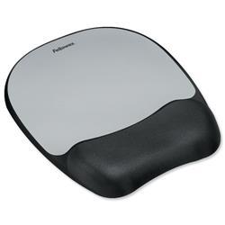 Fellowes Mousepad Non-skid Memory Foam Silver Streak Ref 917580