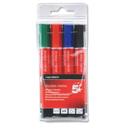 5 Star Office Drywipe Marker Xylene/Toluene-Free Bullet Tip 3mm Line Assorted [Pack 4]