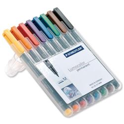 Staedtler 317 Assorted Colours Medium Tip Lumocolour Permanent Universal Pens Ref 317 WP8 - Pack 8
