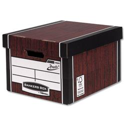 Bankers Box by Fellowes Premium 725 Classic Storage Box Woodgrain Ref 7250502 [Pack 10] + FREE Christmas Hamper