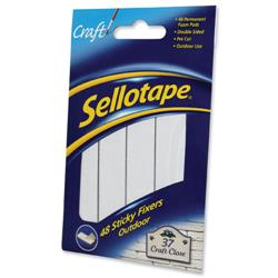 Sellotape Sticky Fixers Outdoor Double-sided Weather-resistant 20x20mm 48 Pads Ref 1445421 - Pack 12