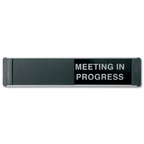 sliding sign vacant and meeting in progress self adhesive 255x52mm - of139