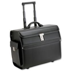 Alassio Mondo Trolley Pilot Case Laptop Compartment 2 Combination Locks Leather-look Black Ref 45033