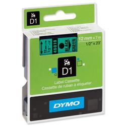 Dymo D1 Tape for Labelmakers 12mmx7m Black on Green - 45019 S0720590.