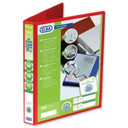 Elba Panorama Presentation Ring Binder PVC 2 D-Ring 25mm Capacity A4 Red Ref 400008676 - Pack 6