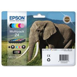Epson 24 Inkjet Cartridge Multipack Capacity 29.1ml B/C/M/Y/LC/LM Ref T24284010 - Pack 6