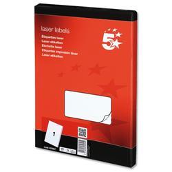 5 Star Office Multipurpose Labels Laser 1 per Sheet 199.6x289.1mm White [100 Labels]