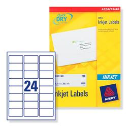 Avery J8159 Inkjet Address Labels 64x30mm 600 Labels White Ref J8159-25 - 25 Sheets