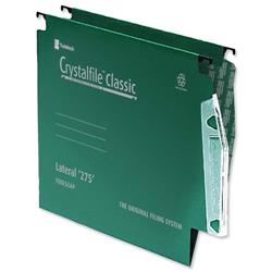 Rexel Crystalfile Classic Lateral File Manilla 275mm V-base Green Ref 78652 - Pack 50