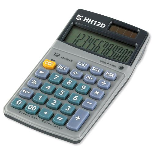 5 Star Calculator Mark-up Handheld 12 Digit 3 Key Memory Battery and Solar-power Ref HH12D