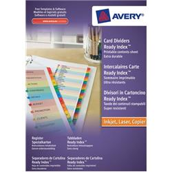 Avery ReadyIndex Dividers L7411-20 A4 1-20 Numeric Assorted Colours Ref 01966501