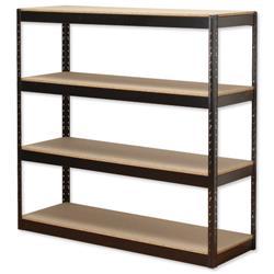 Influx Archive Shelving Unit Heavy-duty Boltless 4 Shelves Capacity 4x 100kg W1320xD450xH1315mm Black