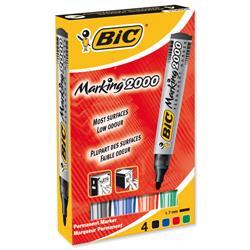 Bic Marking 2000 Permanent Marker Bullet Tip Line Width 1.7mm Assorted Ref 820911 - Pack 4