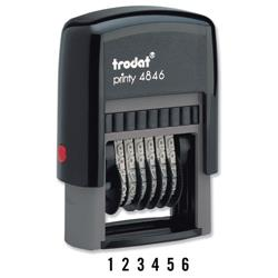 Trodat Printy 4846 Numberer Stamp Plastic Self-inking 6-digit 24x4mm Ref 89376