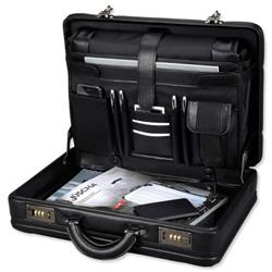 Alassio Attache Case and Removable Laptop Sleeve Imitation Leather Expandable Black Ref 45039