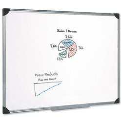 5 Star Office Whiteboard Drywipe Magnetic with Pen Tray and Aluminium Trim W1200xH900mm