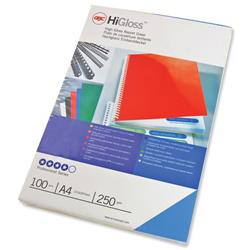 GBC HiGloss Binding Covers 250gsm Plain Blue A4 Ref CE020020 (100 Pack)