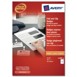 Avery Fold & Clip Name Badges 3 per Sheet 60x90mm White Ref L4789-10 - 30 Badges