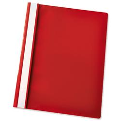 Esselte Report Flat File Lightweight Plastic Clear Front A4 Red Ref 56283 - Pack 25