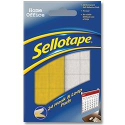 Sellotape Sticky Hook & Loop Fasteners 24 Sets 20x20mm Ref 1445176