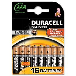 Duracell Plus AAA 1.5V Alkaline Battery Ref 75021469 - Pack 16