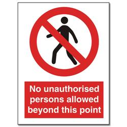 Stewart Superior Sign Self-adhesive Vinyl - No Unauthorised Persons - 200x150mm Ref NS021
