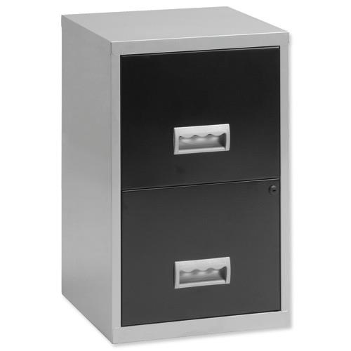 Buy pierre henry filing cabinet steel lockable 2 drawers for Black and silver cabinet