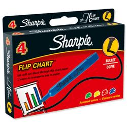 Sharpie Flipchart Marker Water-based Ink Bleed-free Bullet Tip Assorted Ref S0751050