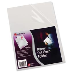 Rexel Nyrex Folder Cut Flush A4 Clear Ref 12153 - Pack 25