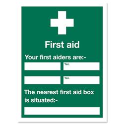 Stewart Superior Sign First Aid Sign W450xH600mm Self-adhesive Vinyl Ref KS008SAV