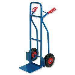 RelX Warehouse Hand Trolley Sturdy Capacity 180kg Foot Size W476xL510mm Blue Ref HT2502 - 796568