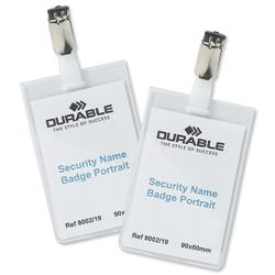Durable Security Portrait Name Badges with Rotating Clip 90x60mm Ref 8002 - Pack 25