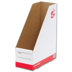 5 Star Office Magazine File Self-locking Part-recycled A4 Plus Red & White [Pack 10]