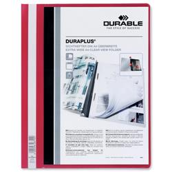 Durable Duraplus Quotation Filing Folder PVC with Clear Title Pocket A4 Red Ref 2579/03 - Pack 25