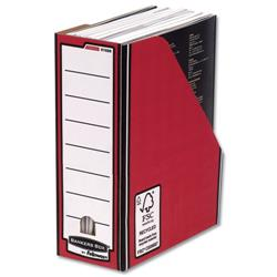 Bankers Box by Fellowes Premium Magazine File Fastfold A4 Plus Red and White Ref 0722605 [Pack 10]