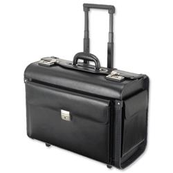 Alassio Silvana Trolley Pilot Case Laptop Compartment 2 Combination Locks Leather-look Black Ref 92301