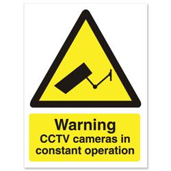 Stewart Superior Caution CCTV Camera Sign Self Adhesive PVC 150x200mm Ref WO143PVC