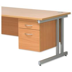 Trexus Fixed Filing Pedestal for Cantilever Desk 2-Drawer W400xD525xH470mm Beech