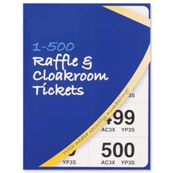 Cloakroom or Raffle Tickets Numbered 1-500 Assorted Colours - Pack 12