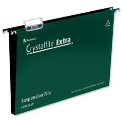 Rexel Crystalfile Extra Suspension File Polypropylene 50mm Foolscap Green Ref 3000112 - Pack 25